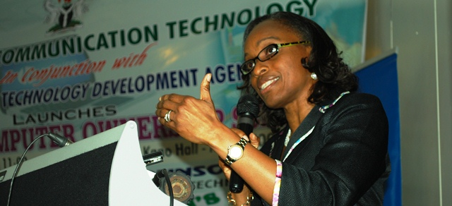 Omobola Johnson, Minister of Communication Technology, launched the Students PC Ownership Programme